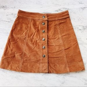 Madewell camel stretch suede mini skirt 0